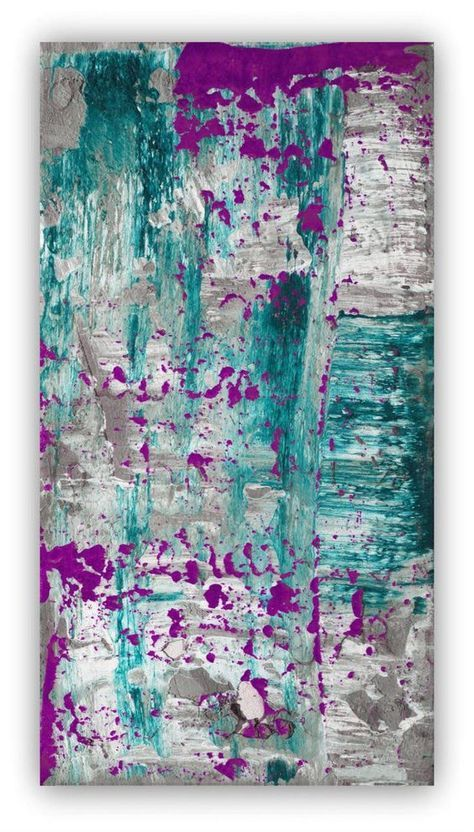 Abstract Painting Large Wall Art Canvas Purple Plum Grey Gray Blue Turquoise Teal Concrete Minimalist