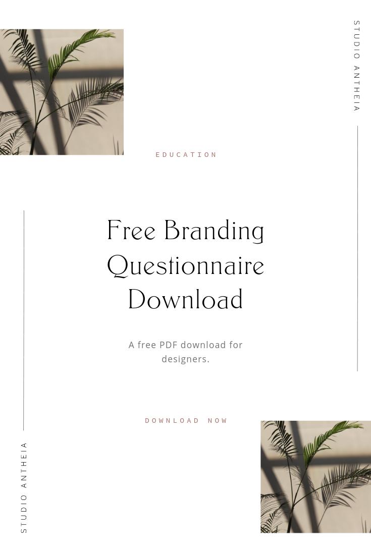 Free Branding Questionnaire Download Studio Antheia Branding Website Template Design Client Questionnaire
