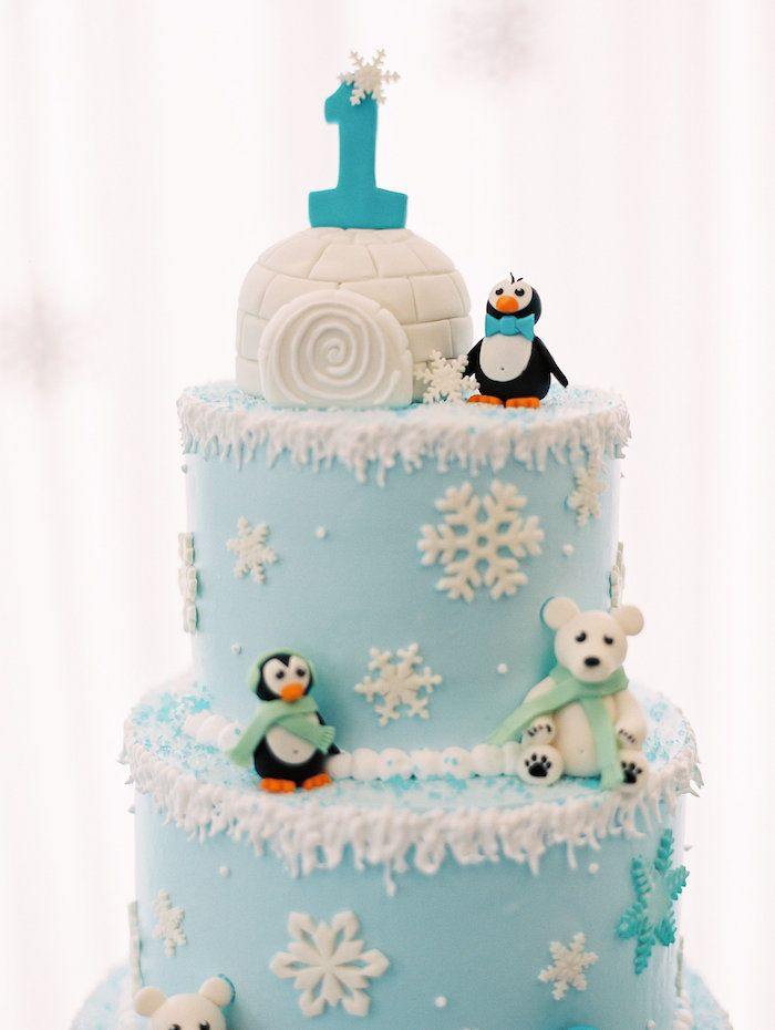 Arctic Winter Onederland Birthday Party Party Cakes Cupcakes