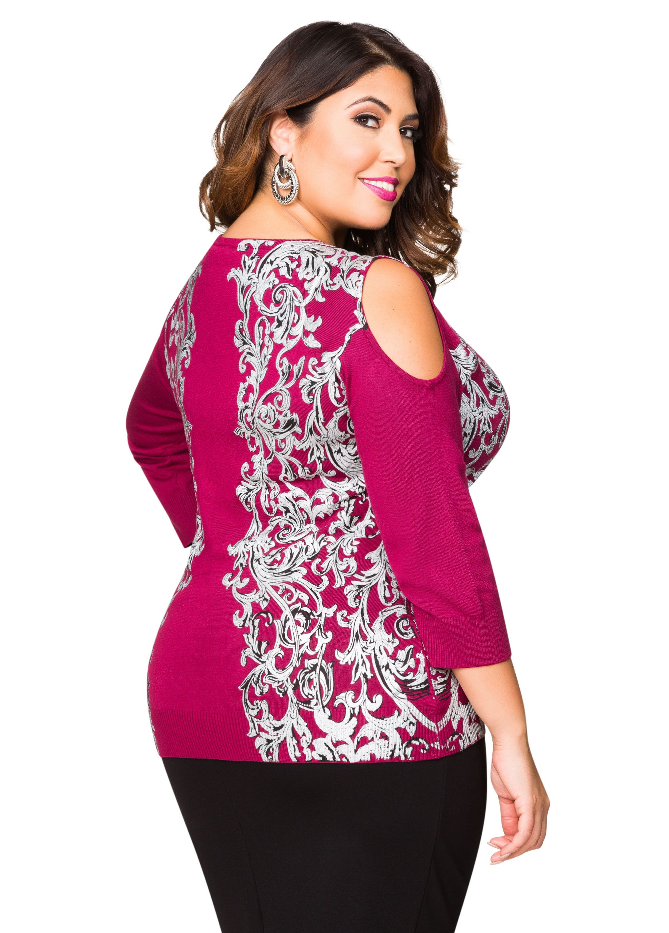 4df1ff472423b Foil Status Print Cold Shoulder Sweater - Ashley Stewart