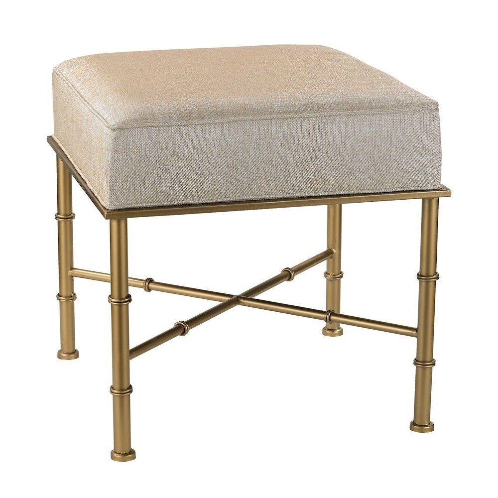 Gold Cane 18 Bench Gold Metallic Cream Finish Gold Bench Vanity Stool Ottoman Stool
