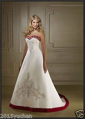 2017 Red White Embroidered Satin Plus Size Wedding Dress Bridal Gown Custom 2 26