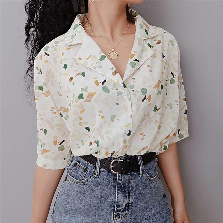Vintage Floral Revers Shirt Lose BF Wind Chiffon Kurzarm Shirt von FE CLOTHING  style