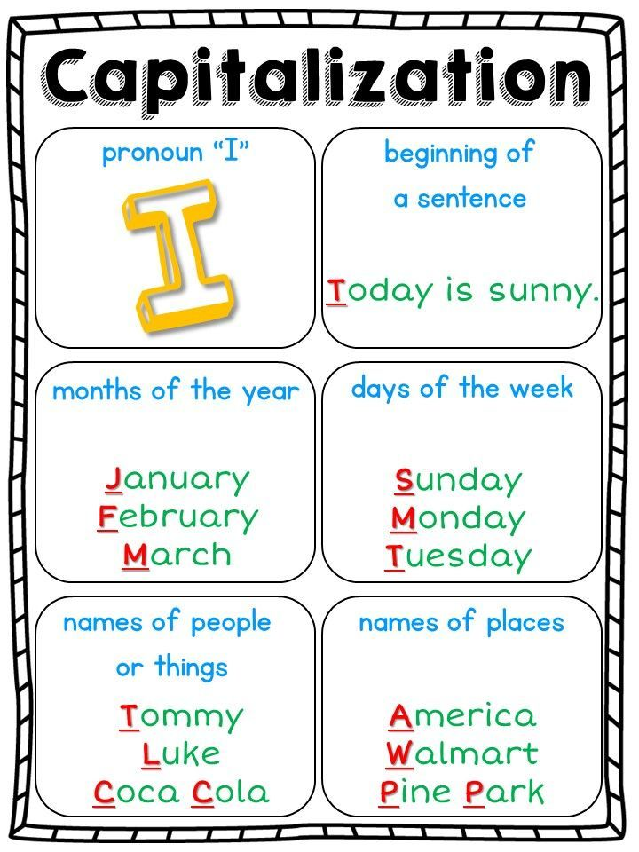Capitalization rules for kindergarten first grade and