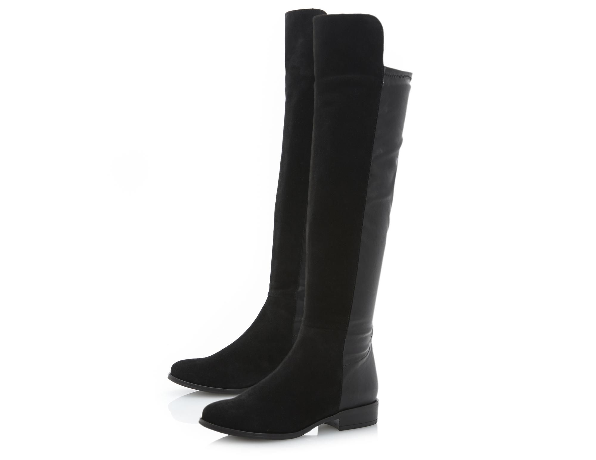 Dune Trish Black Suede Pull On Over The Knee Boot   Dune Shoes Online