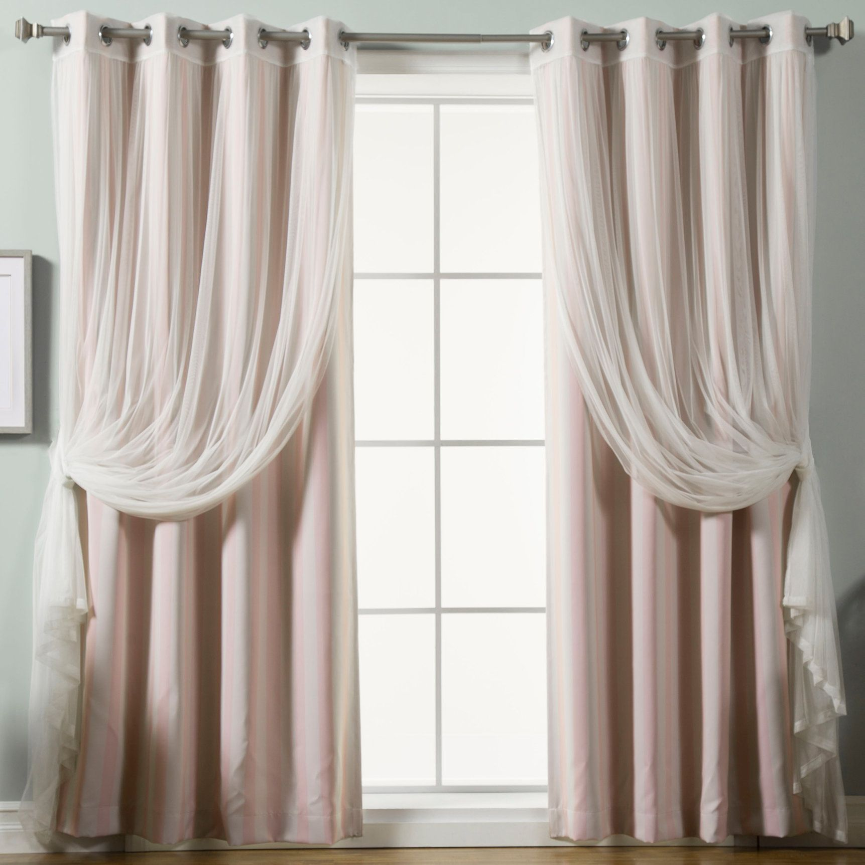 Baynton Striped Semi Sheer Thermal Grommet Curtain Panels Drapes