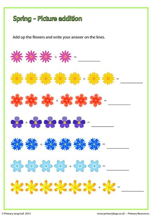 PrimaryLeap.co.uk - Spring - Picture addition Worksheet