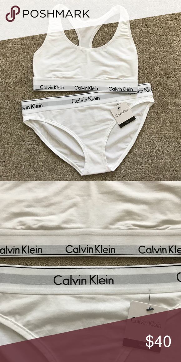 6efb8898b894 Calvin Klein Modern Band Bralette & Panty White Brand new with tags Thick band  bralette &