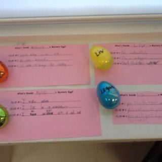 Mystery eggs. Inferring for Easter. Students put an item in their egg and write 3 clues to lead others to infer what's inside. Once all students have a chance to record their guesses we will crack them open before Easter break.