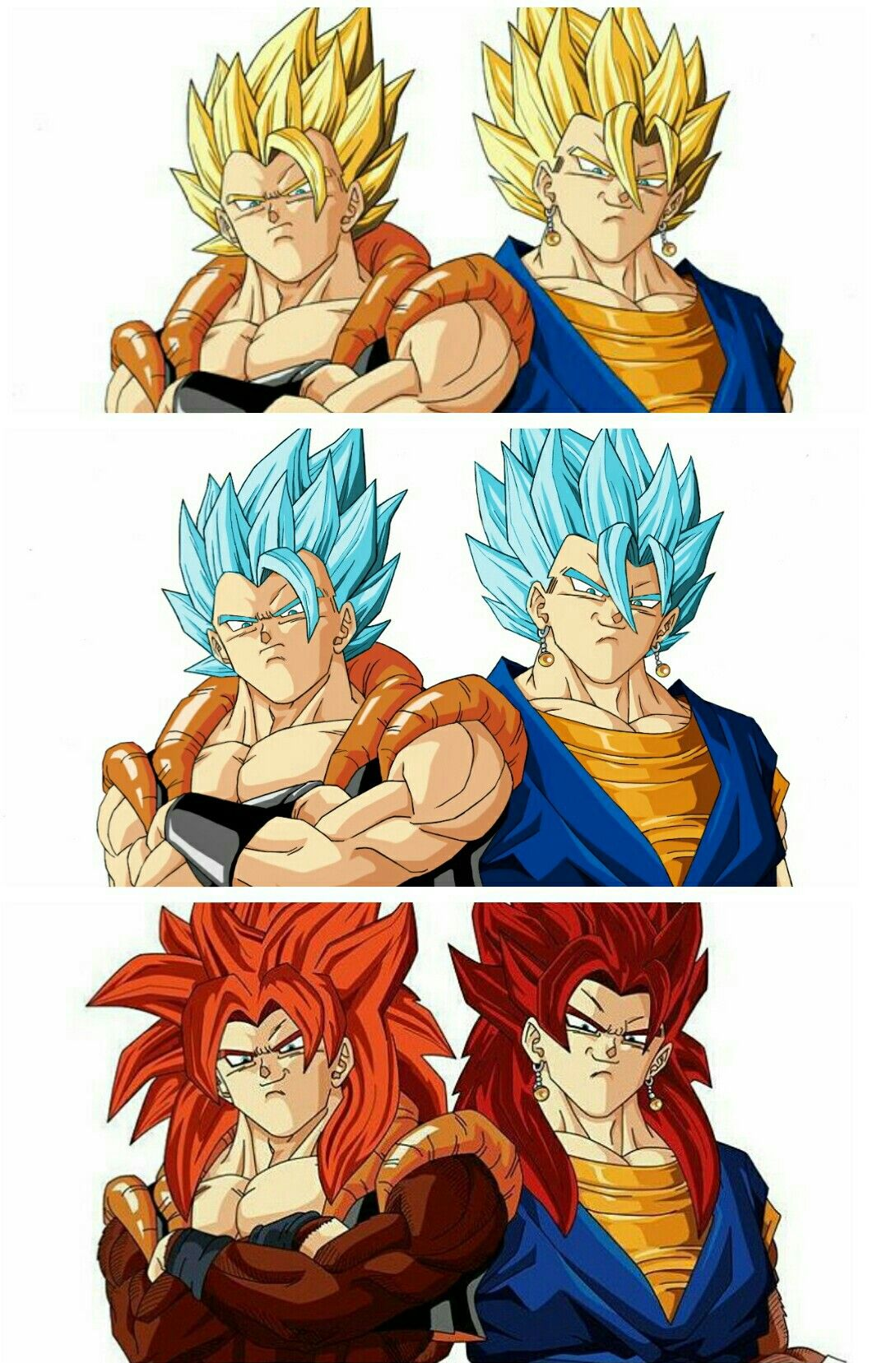 Dragon Ball Gogeta Y Vegito Fases Ssj Dragon Ball Super Manga Dragon Ball Gt Dragon Ball Wallpaper Iphone