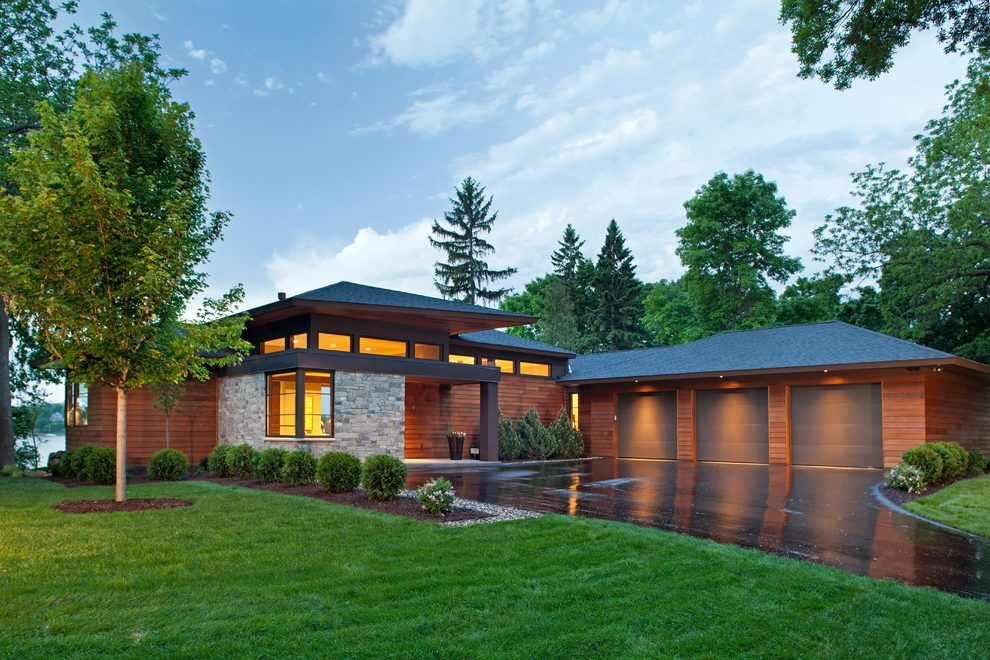 Modern roof overhang exterior contemporary with brown ...