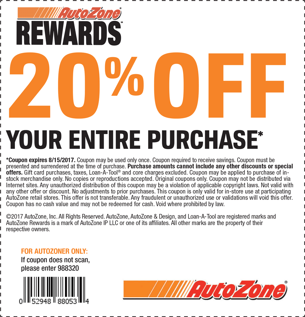 Autozone discount coupon
