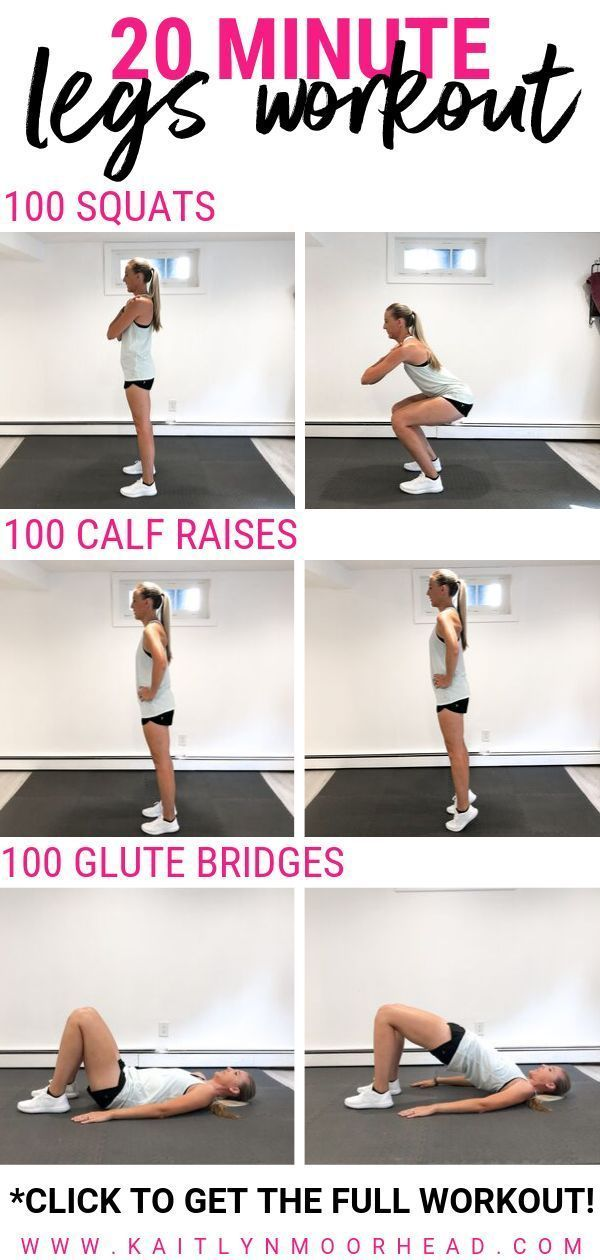 Looking for a quick + effective 20 minute leg workout? This workout is made up of 3 rounds of toning exercises for ultimate fat burning. You can complete this workout at home or at the gym + you don't need any equipment! Want to challenge yourself? Feel free to add weights to add a little strength training. This legs workout is perfect women who are beginners + are looking for slimming moves to tone their thighs + booty fast! Click for the full workout. #legs #leg #workout #exercises #20minutes