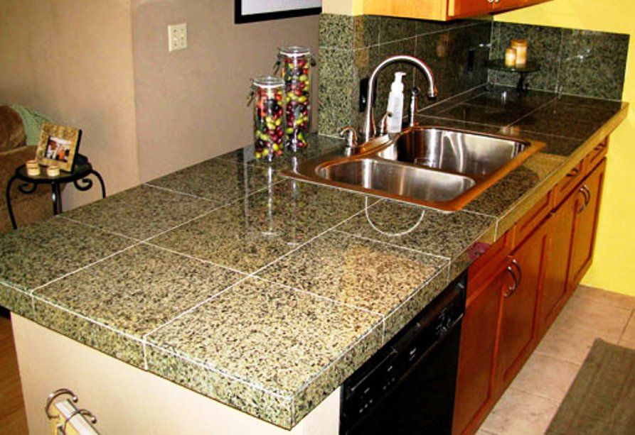 Kitchen Brown Granite Tile Countertop Set On Red Kitchen Island