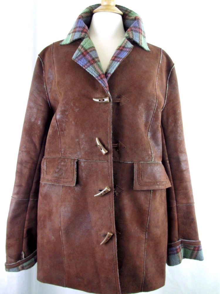 ORVIS Womens L Faux Suede Brown Plaid Fleece Lined Toggle Car Coat ...