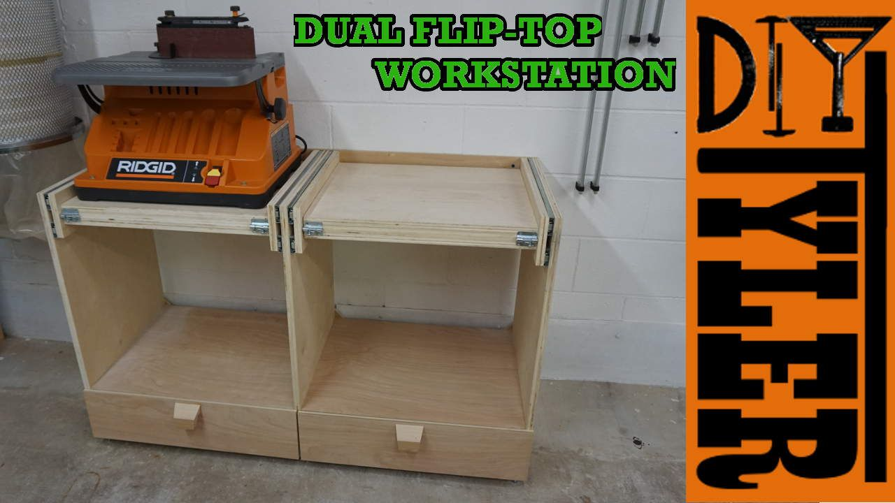 Double Flip Top Workstation Diytyler Workstation Woodworking Saws Wood Crafting Tools