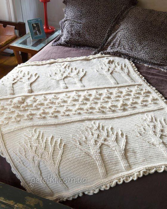 Интересный узор для пледа крючком. Схемы | Crochet patron and ...