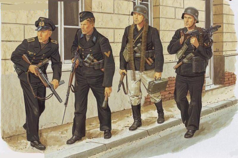 """hanspanzer: """" Kriegsmarine. Marinos alemanes defendido una ciudad portuaria. """""""
