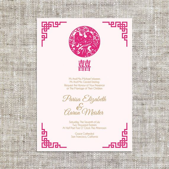 DIY Printable/Editable Chinese Wedding Invitation Card by ImLeaf ...
