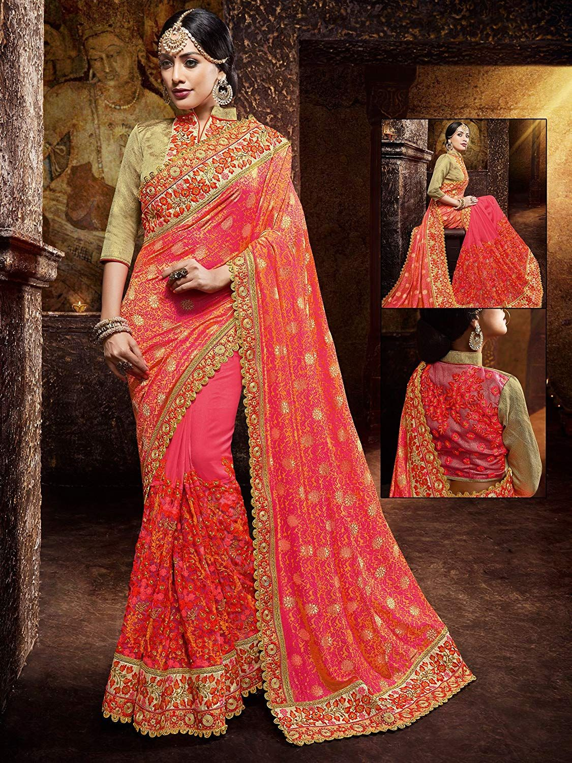 4fa0dbb1f089 DesiButik's Pleasant Pink And Red Gerogette And Jacquard Saree: Amazon.in:  Clothing & Accessories