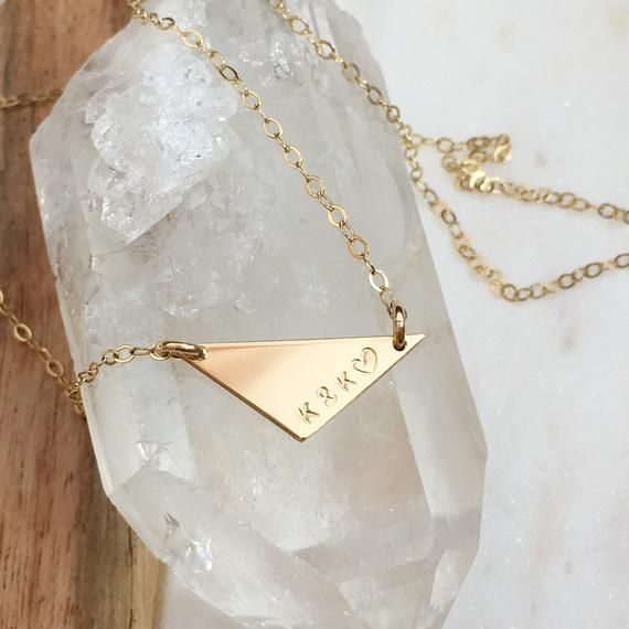 Photo of dainty triangle necklace   unique pendant   dainty jewelry   customized gift   gold filled   sterlin