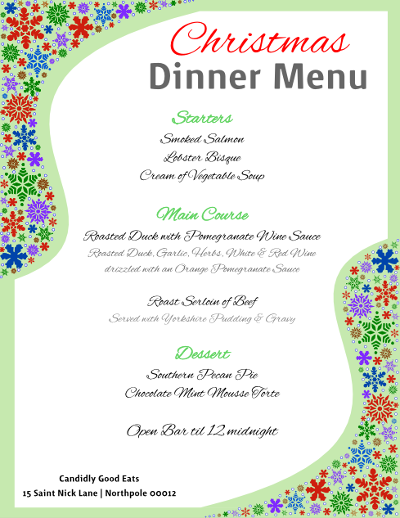 Download a Free Christmas Dinner Menu Flyer Template created with ...
