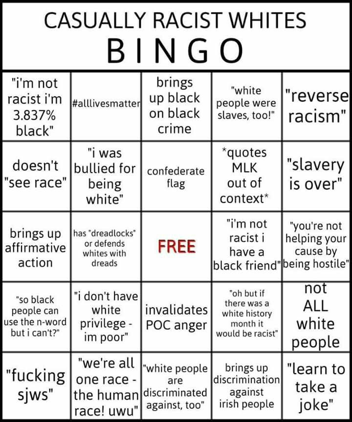 Casually Racist Whites BINGO otherwise known as white whine!