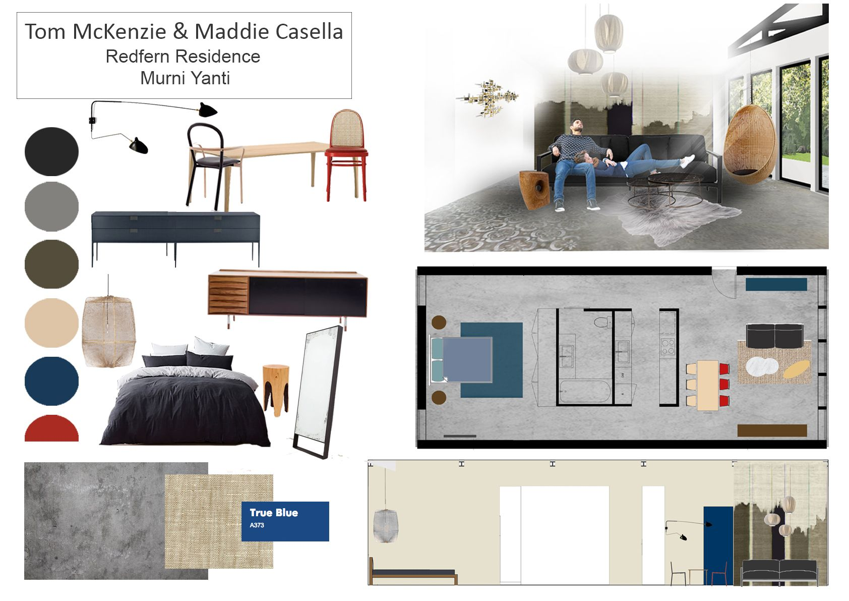 final presentation moodboard for residential decoration subject at