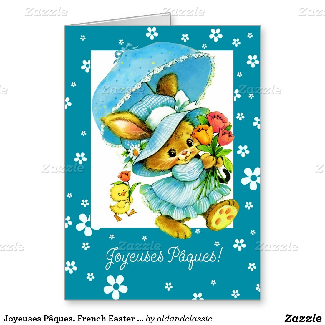 Joyeuses Pâques. Easter Greeting Card in French with retro Easter Bunny and Chick postcard image. Matching cards in various languages , postage stamps and other products available in the Holidays / Easter Category of the oldandclassic store at zazzle.com