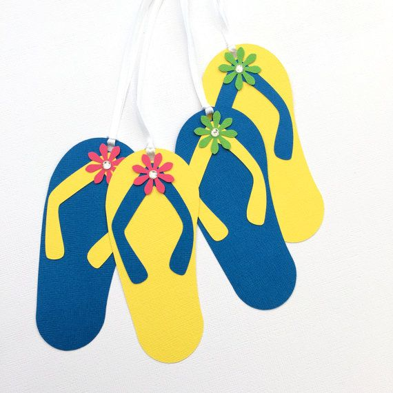 025f946110e3 Flip Flop Gift Tags in bright yellow and blue. Beach party