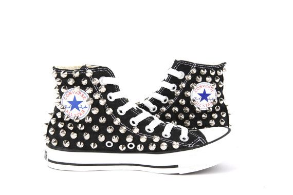 8b263482f2ff Original Converse AllStar Chuck Taylor high top studded Converse stud  sliver spike on BLACK Shoes