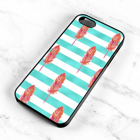 Watercolor Feather Pattern Striped Aqua Hard by MintPrintCases