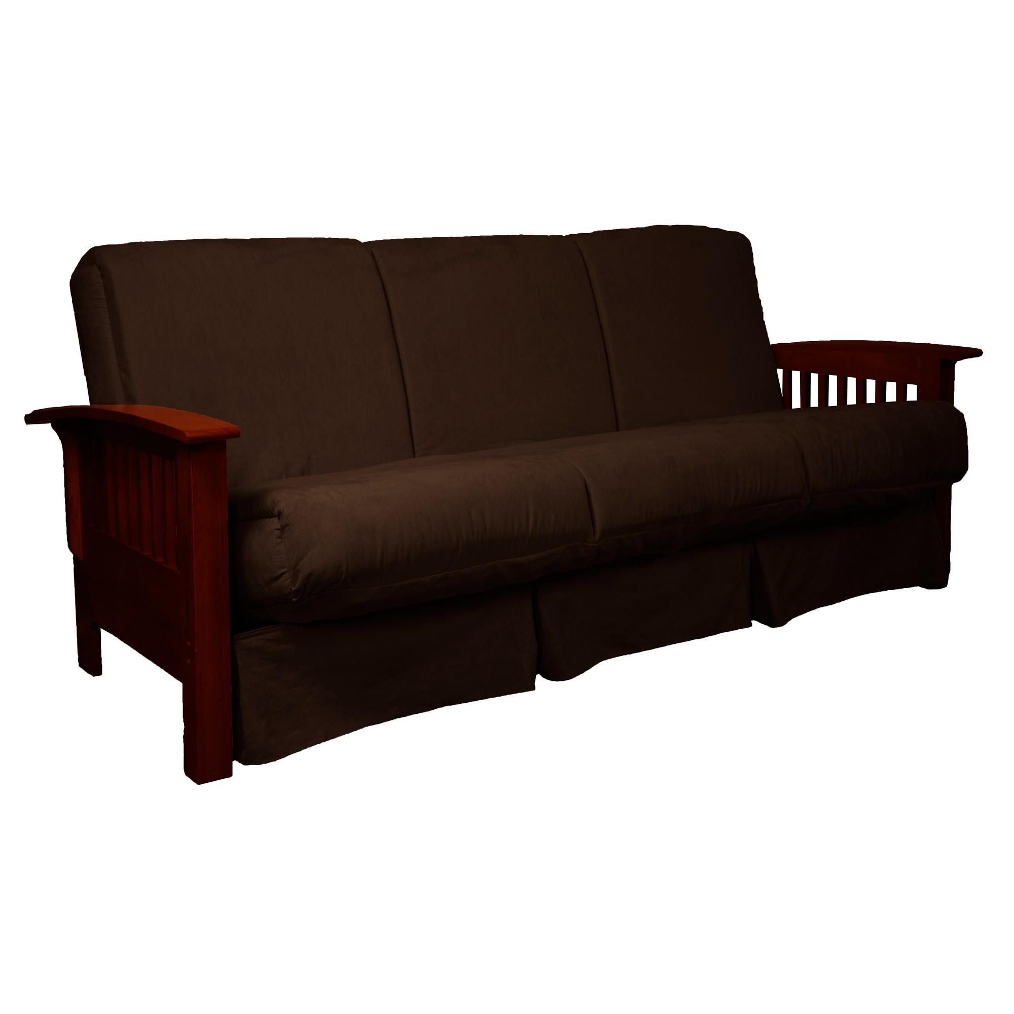 Stickley Perfect Futon Sofa Sleeper Mahogany Wood Finish Mocha Brown Upholstery Queen