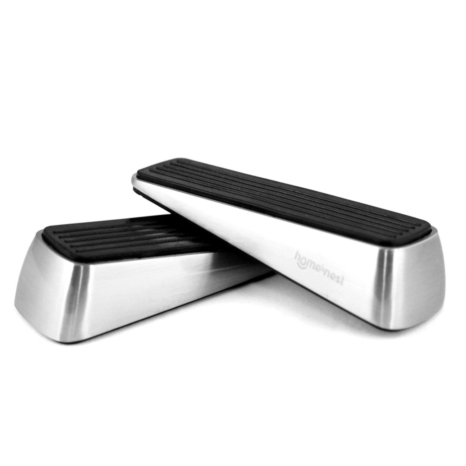 homesnest door stopper made of stainless steel and rubber easily wedge heavy doors on all floor surface strong grip nonslide bonus finger protector