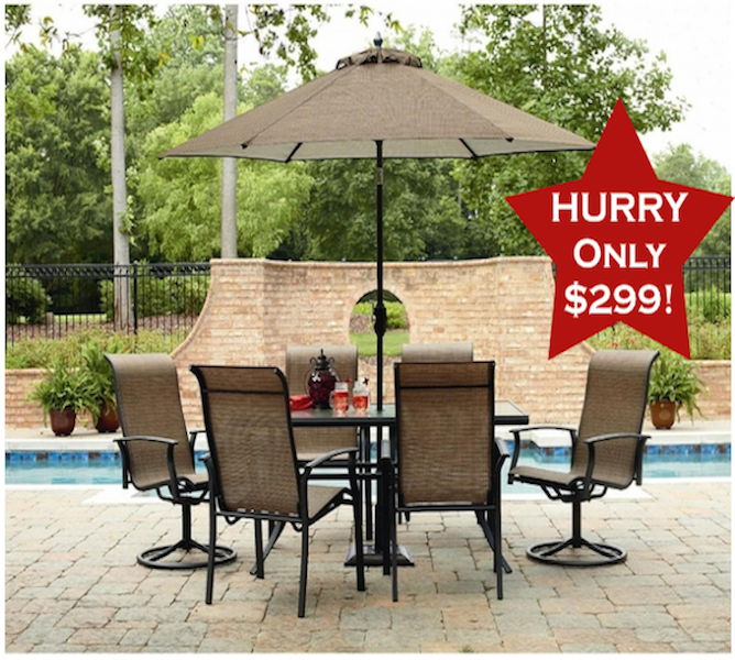 Hot Buy Garden Oasis Harrington 7 Piece Patio Set For Only 299 Outdoor Dining Table Setting Patio Set Patio Furniture Dining Set
