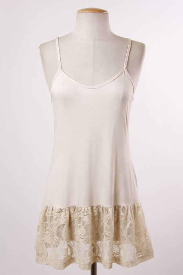 Ruffled Lace Top Extender in Stone