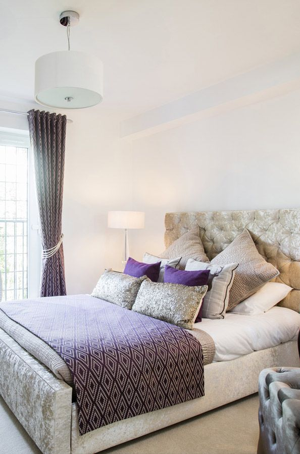 Soothing Colors Of Grey And Purple In This Bedroom In Glasgow Apartment  Ideal For Couples And