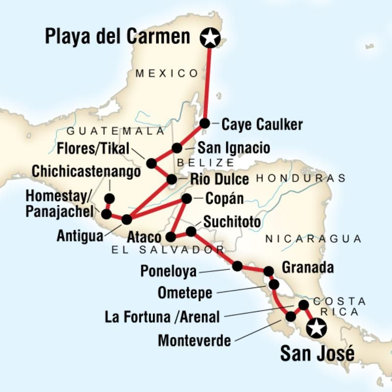 Map of the route for Best of Central America Central America