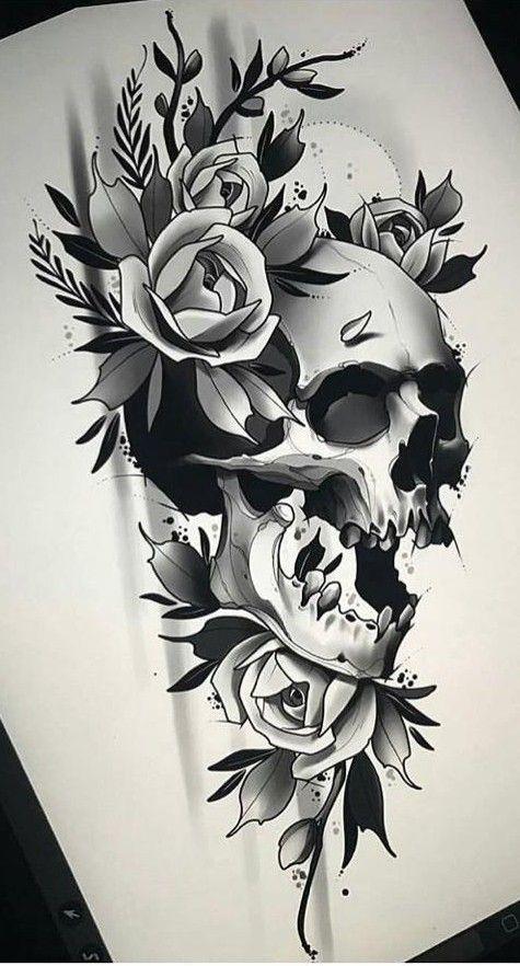 Pin De Ivan Sanchez En Caveiras Tatuajes Rosas Y Calaveras Diseno De Tatuaje De Calavera Craneos Y Calaveras