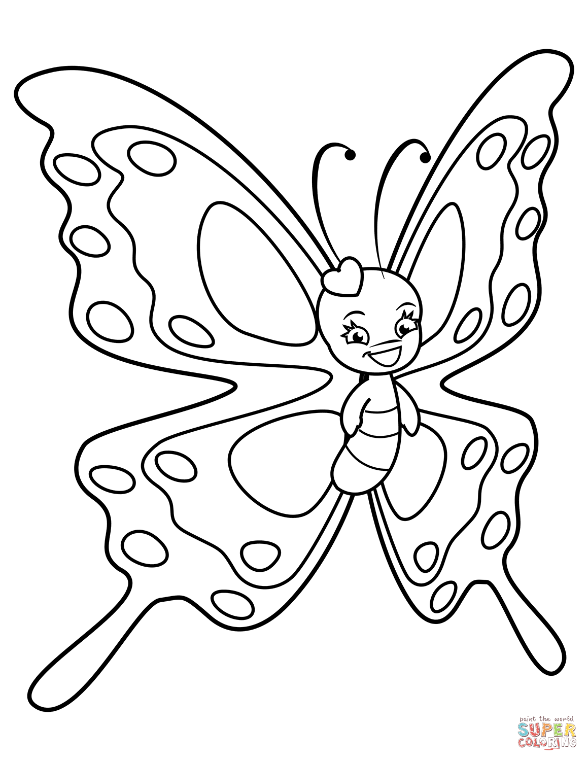 Cute Butterfly With Sweet Smile Super Coloring Butterfly Coloring Page Butterfly Printable Coloring Pages [ 1500 x 1159 Pixel ]