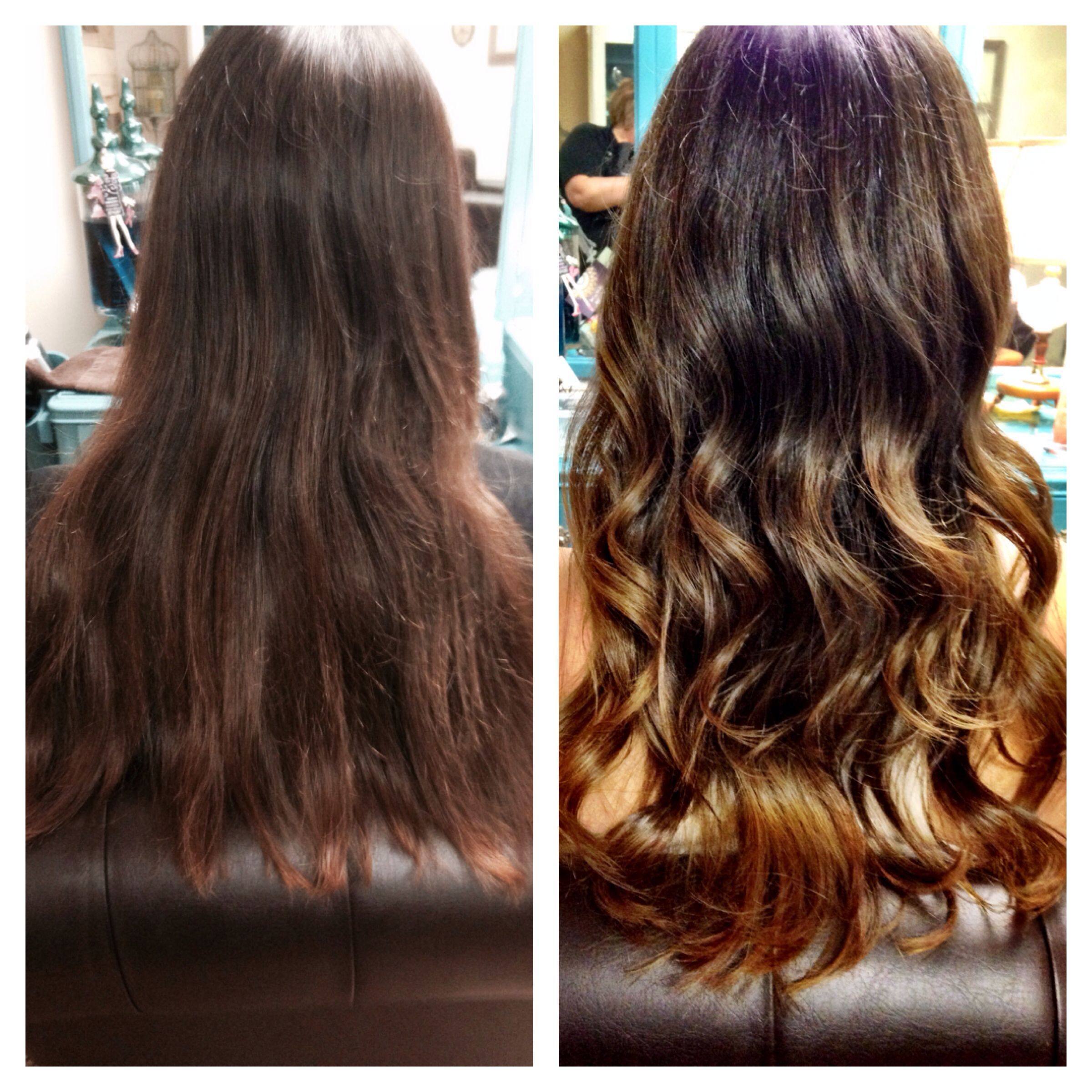 before after ombr balayage hair brown caramel. Black Bedroom Furniture Sets. Home Design Ideas