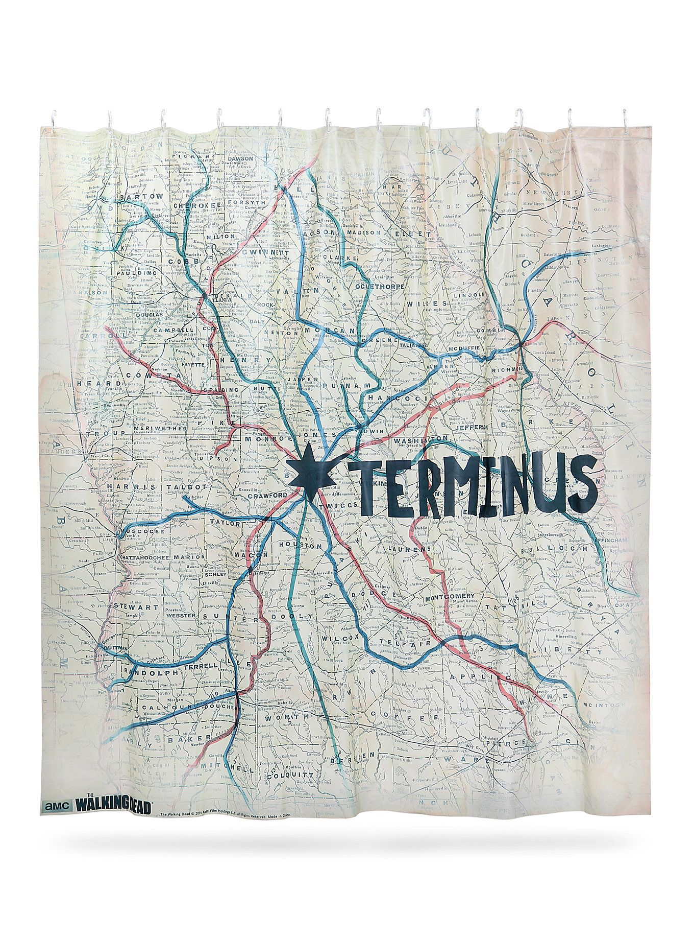 The Walking Dead Terminus Map Vinyl Shower Curtain Hot Topic