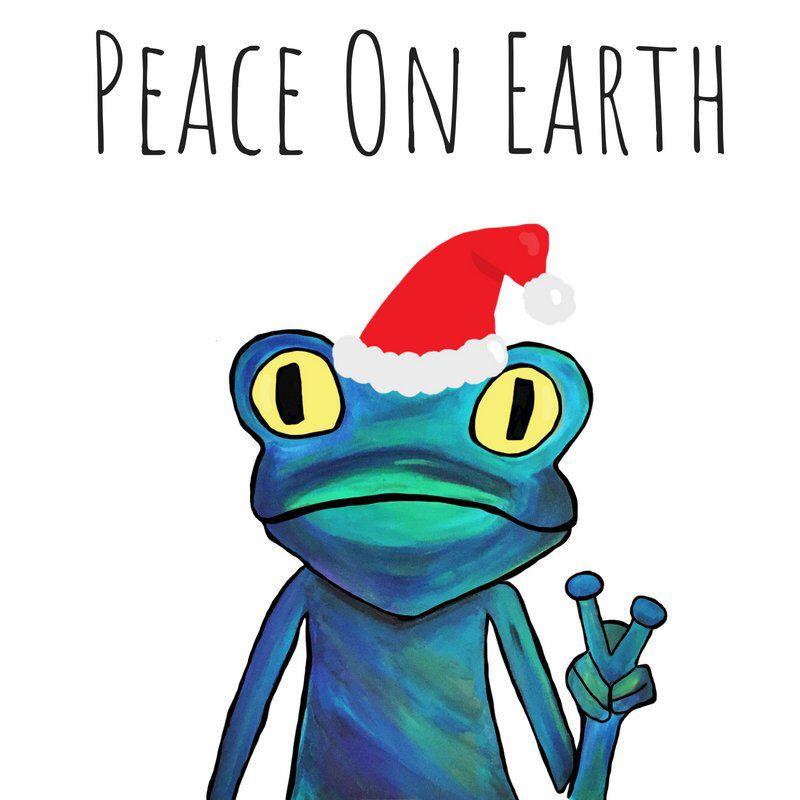 Christmas frog holiday card peace on earth santa