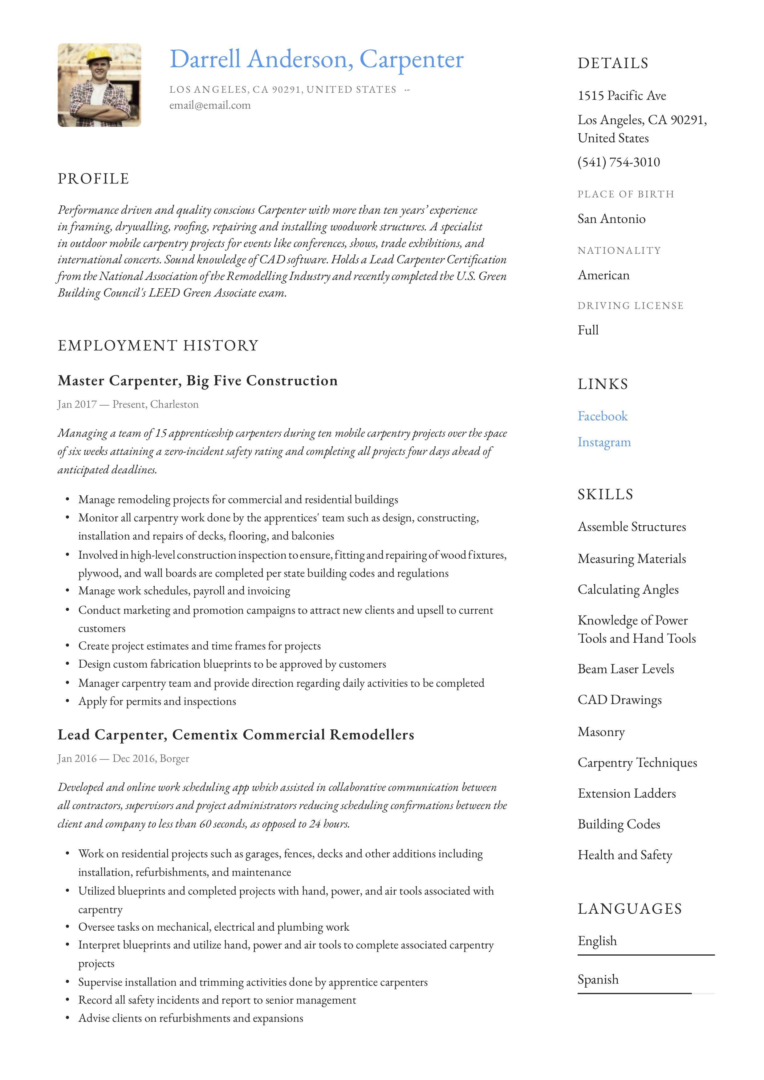 Modern Carpenter Resume, template, design, tips, examples
