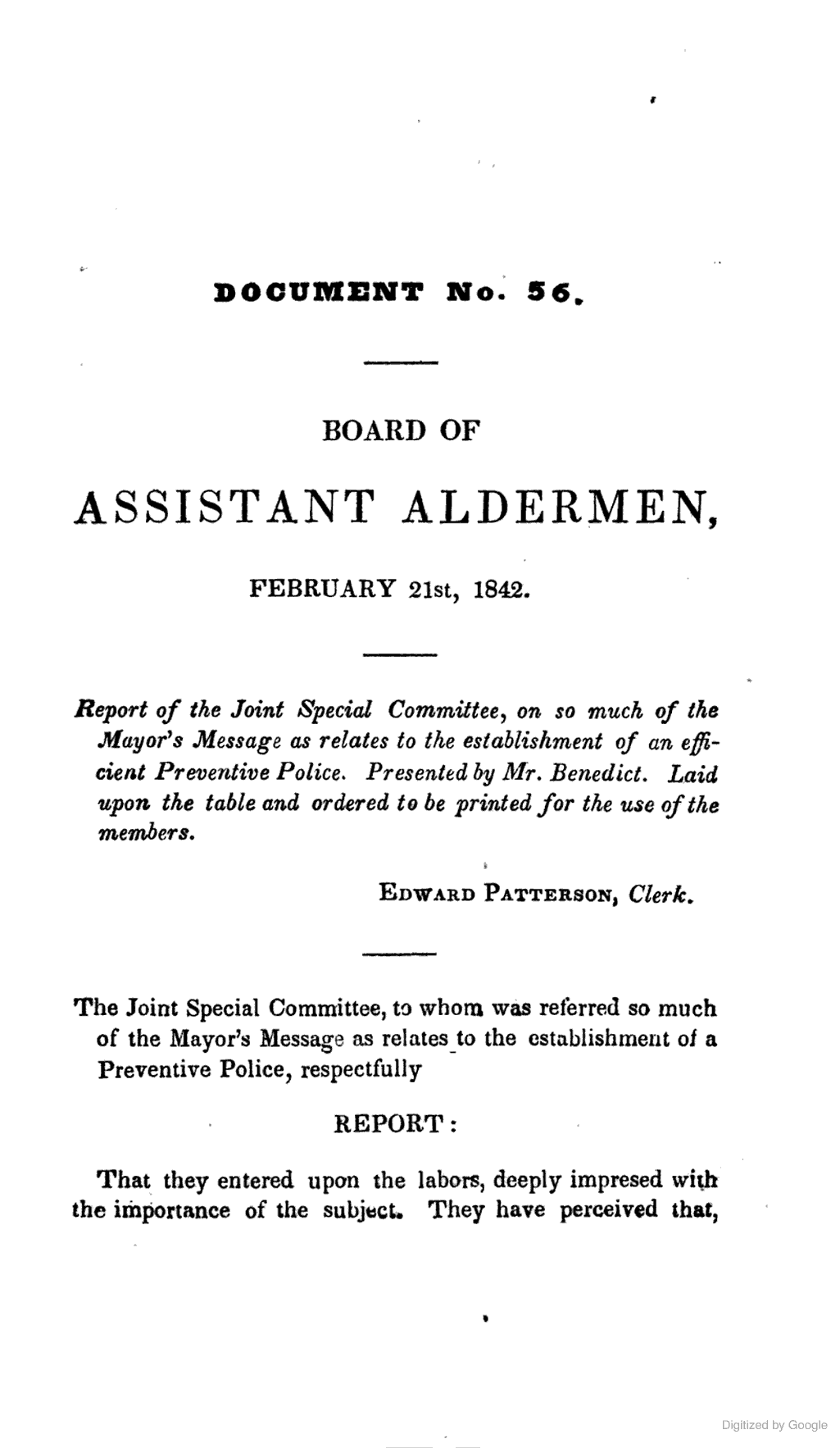 1842 [Fire Dept. Riots & Rowdyism] Report Of Special