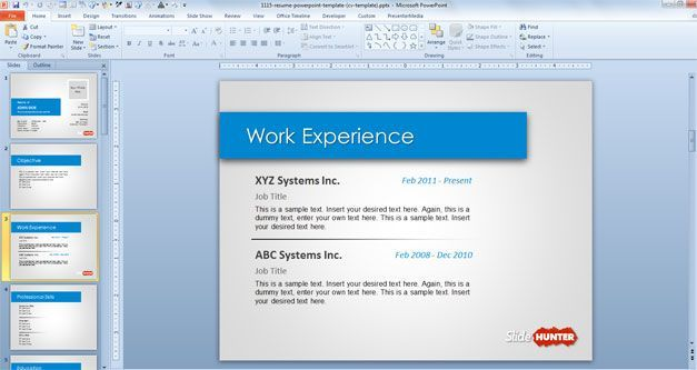 work experience resume in PowerPoint – Work Experience Resume