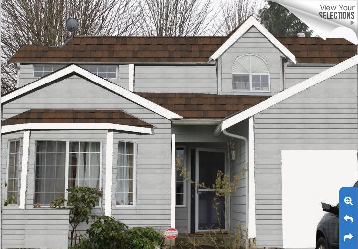 This Is A Close Example Of Our House S Grey Exterior With A Dark Brown Roof House Paint Exterior Exterior Paint Colors For House Brown Roof Houses