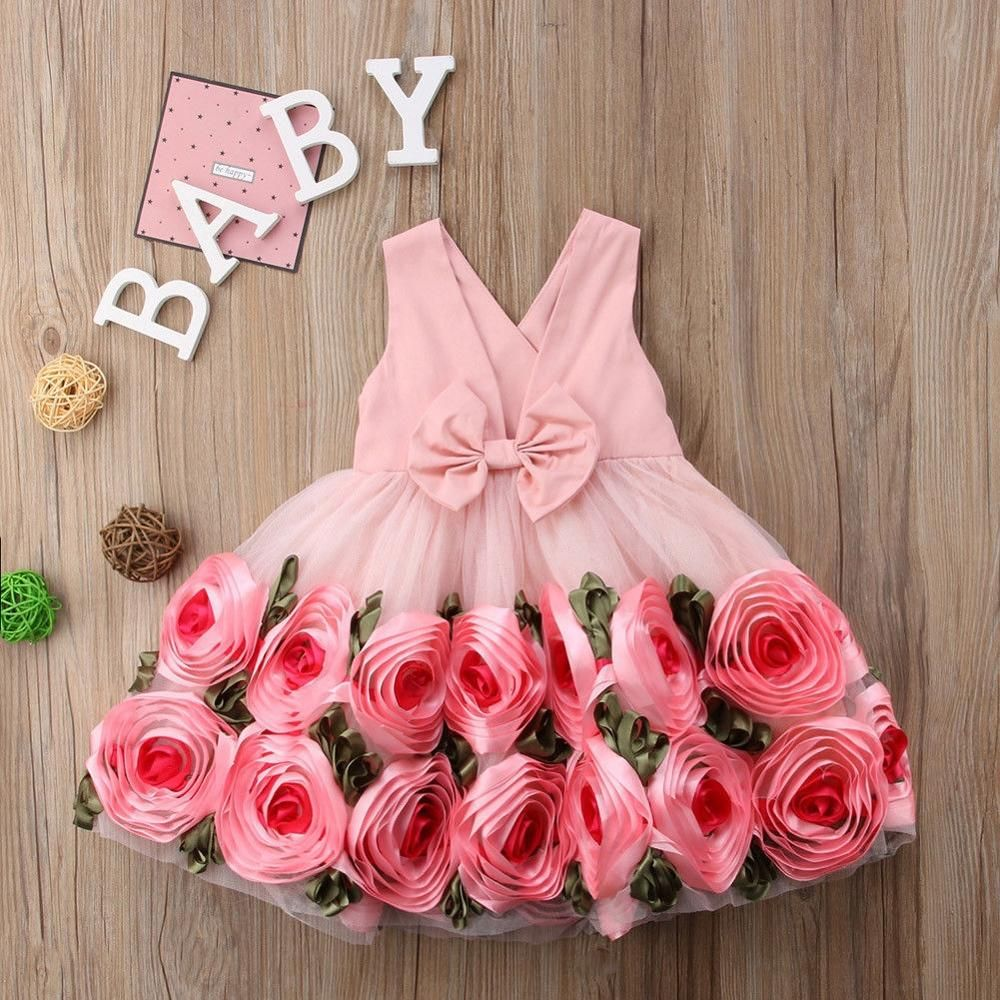 Flower Girls Dresses 3D Rose Back Bow Ball Gown Kids Tulle Dress Baby Sundress