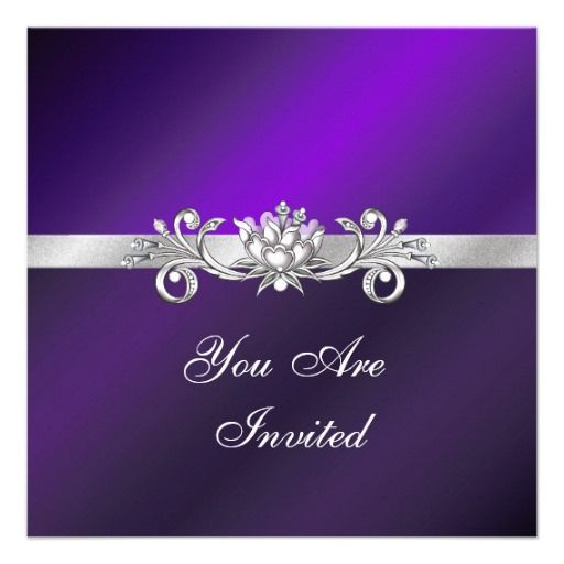 Backdrops Silver Wedding Invitations: Elegant Purple And Silver Party Invitations