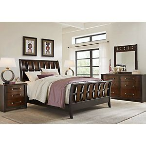 Bedford Heights Cherry 5 Pc King Sleigh Bedroom Beds